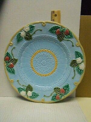 """FITZ & FLOYD  MAJOLICA STRAWBERRY  FLOWERS LEAVES TURQUOISE FRENCH 11"""" Plate"""