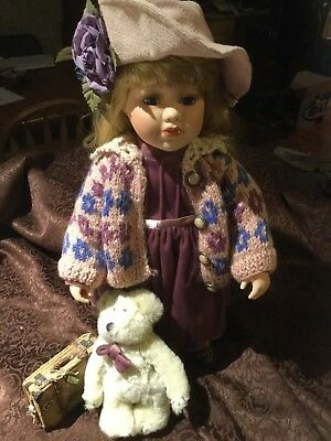 Boyds Yesterdays' Child Doll Elizabeth w/ Suitcase & Bear Collectors Day 1998