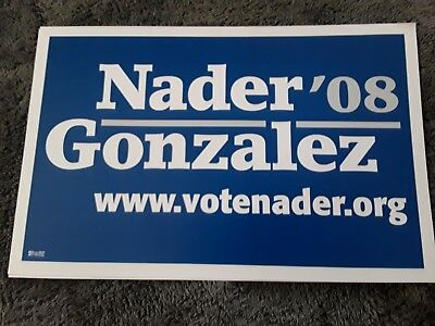 Ralph Nader for President 2008 double side blue campaign sign 3rd party NEW