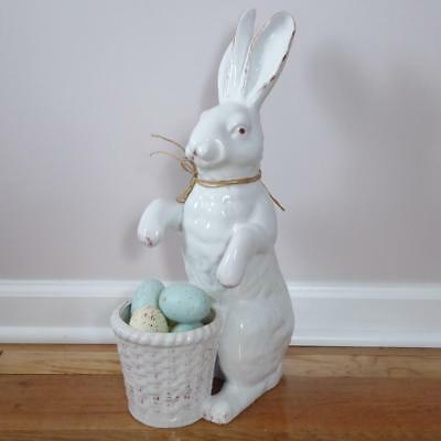 """EASTER BUNNY w/ BASKET BOWL LARGE 17"""" WHITE RABBIT PLANTER FRENCH COUNTRY DECOR"""