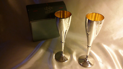 """2 Lenox Kirk Stieff Silver plated 9"""" Goblets ~ Chalices ~Champagne Flutes W/ Box"""