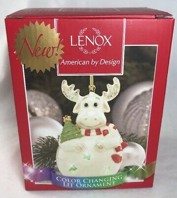 LENOX Color Changing Lit Moose Lighted Glass Christmas Ornament NIB