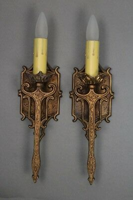 Antique Pair Of Single Light Sconces With Gold Finish Circa 1920's (10946)