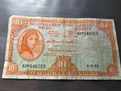Authentic RARE - Central Bank of Ireland - Ten (10) Shillings 6.6.68