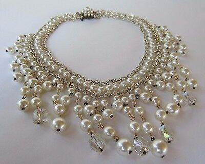 Stunning Vintage Estate Japan Faux Pearl Gold Tone Dangle Necklace!
