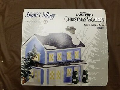 "Department 56 Snow Village NIB RARE ""Todd & Margo's House"" Christmas Vacation"