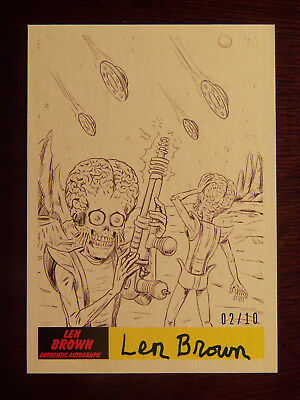 2017 Topps Mars Attacks The Revenge! Len Brown AUTOGRAPHED Card P-49 #02/10 RARE