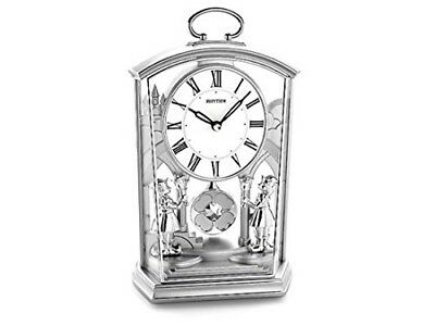 Rhythm Ornate People Silver Mantel Clock with Ultra Slow Pendulum
