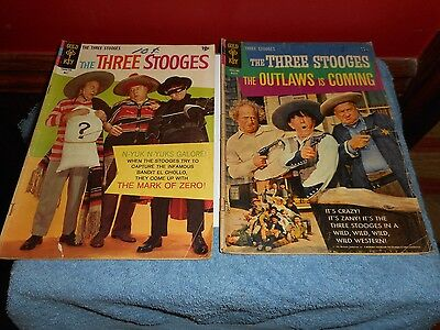 Three Stooges Comic Books 1965 The Outlaws & 1967 #34 Gold Key Fill In Lot