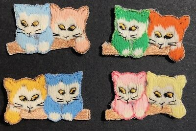 Charming Pair of Curious Kittens ..Vintage 1950s Applique / Patch 4cm tall