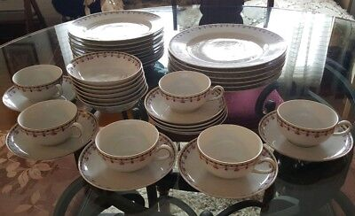 37pc Heinrich H&Co ROSE SWAG #9703 Palace Shape Cup & Saucer Set, Selb Bavaria