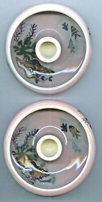 Pair Of Aust. Pottery Hp Martin Boyd Candlestick Holders Great Barrier Reef C43