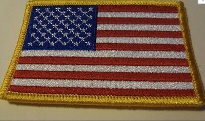 USA AMERICAN FLAG EMBROIDERED PATCH SEW-ON w GOLD (3 1/2 x 2 3/8)