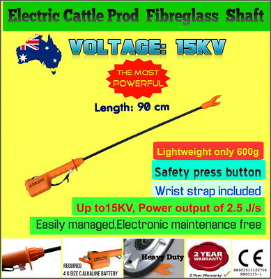 Super High Voltage 15KV Battery Cattle Prod Electric Shock Stock Prodder 90cm