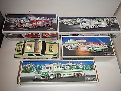 5 Vintage 1990's HESS TRUCK, HELICOPTER & CAR Collectibles + 4 BOXES Great Shape