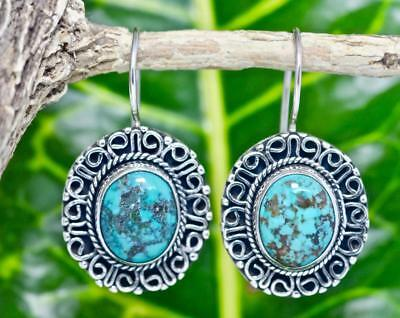 Handmade  Sterling Silver .925 Bali Style Med Oval Dangle Earring w Turquoise #2