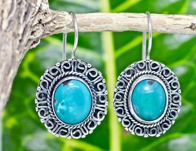 Handmade Sterling Silver .925 Bali Style Med Oval Dangle Earrings w Turquoise #1