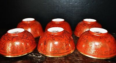 Antique Chinese 1920s exported set of six porcelain bowls coral red glaze