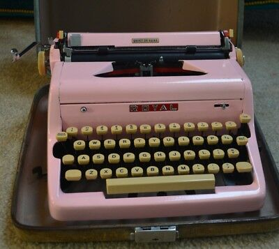 Royal Typewriter Bubble Gum Pink with Carrying Case