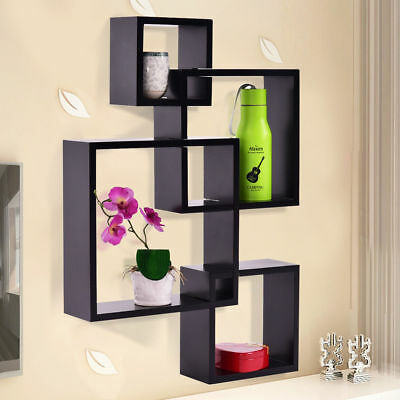 Modern Intersecting 4 Square Floating Shelf Wall Mounted Home Furniture Decor