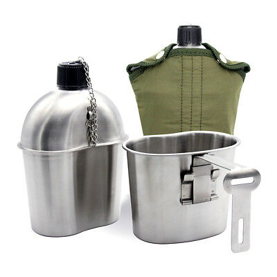 Stainless Steel Military Canteen+Green Patrol Water Bottle Cover+Cup AU Local