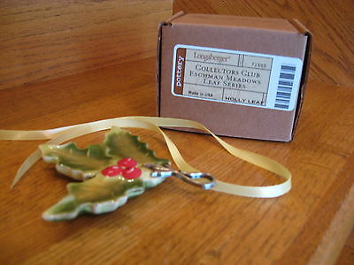 Longaberger Holly Leaf Ornament Collectors Club in box USA New *free shipping!*