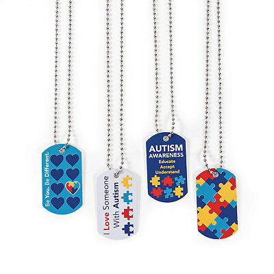 Lot of 12 metal AUTISM AWARENESS puzzle piece design DOG TAG NECKLACES fundraise