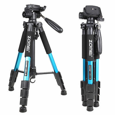 "Q111 55"" Professional Aluminum Alloy Camera Tripod Portable for DSLR Camera Blue"