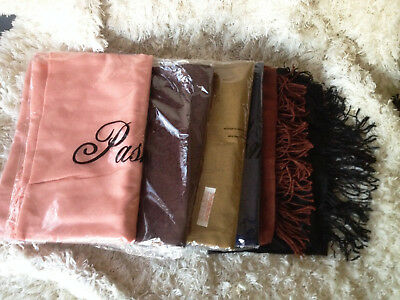 6 pashmina scarves / shawls .... 100% silk and cashmere