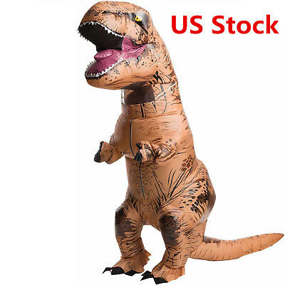 Adult T-Rex Jurassic World Inflatable Dinosaur Costume Blow Up Fancy Dress EW