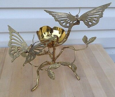 signed welded brass butterflies in bush sculpture ( Barbara Esquino Mex ? )