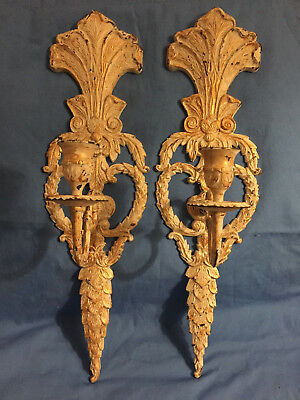Antique Pair Victorian Cast Iron Wall Candle Sconces