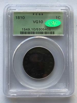 PCGS VG 10 1810-P CAC One Cent  Coin.!