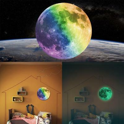 Luminous Moon Wall Stickers Decal 3D Wallpaper Lovely 7-Color 20CM Background