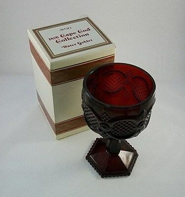 Vtg AVON Ruby Cape Cod 1876 Pattern Footed Water GOBLET-NIB-FREE SHIPPING