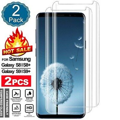 2PK Samsung Galaxy Note 8 S9 Plus 3D Full Cover Tempered Glass Screen Protector