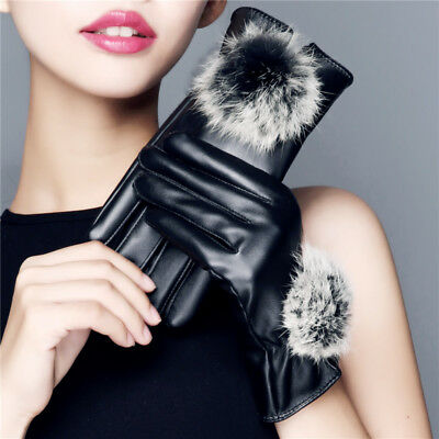 Ladies Womens Hairball Faux Leather Driving Gloves Faux Fleece Lined Handwarmers