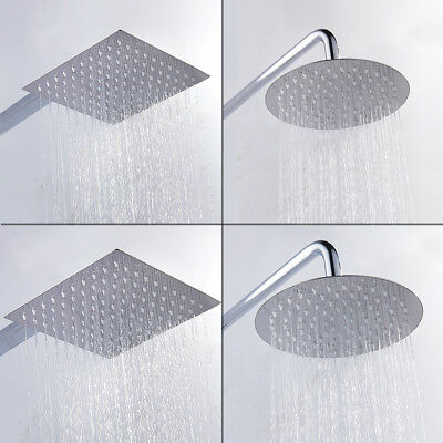 Bathroom 4/6/8/10/12 inch Round/Square Stainless Steel Rain Shower Head Rainfall