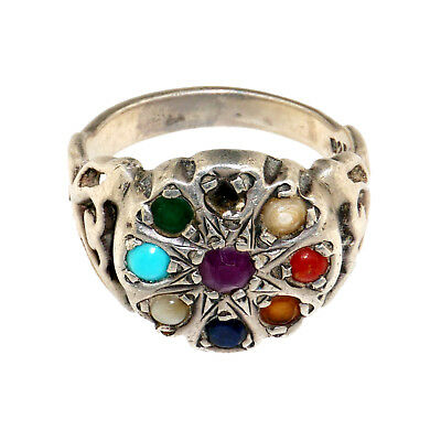 (1856)Antique silver and precious stones ring.powerful amulet from India.