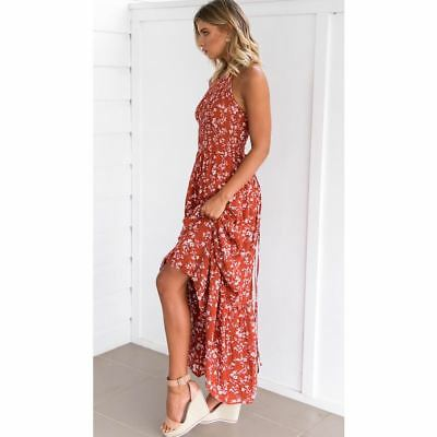 Women Floral Printed Stylish Backless Cross Strap Hollow Out Dress