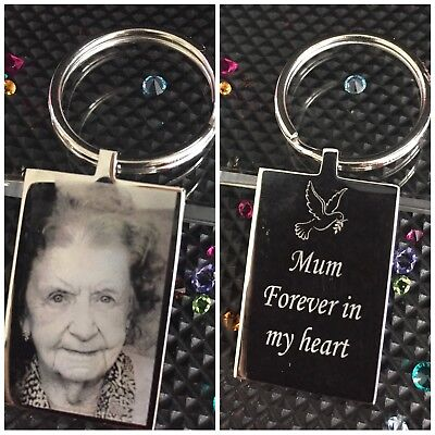 Personalised Engraved Photo & Text Keyring |Memorial |In Memory of |Love| RIP