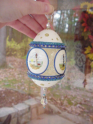REAL Hand Decorated Carved Goose Egg Easter Tree Ornament Lighthouse Collectible