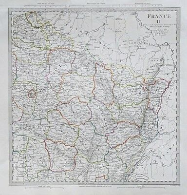Sduk Map France Ii 1830 Published 1844 Genuine Antique Map