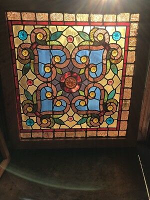 SG 2007 amazing antique pressed Jewel landing window vibrant 35.25 x 37.75