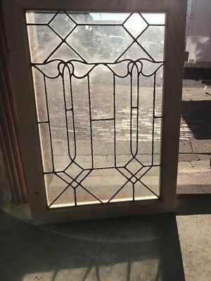 SG 2009 antique leaded glass landing window tulip 24.25 x 34.25
