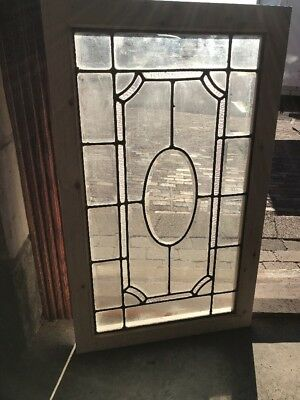 Sg 2010 Antique Beveled Leaded Glass Transom Window 23.75 X 39