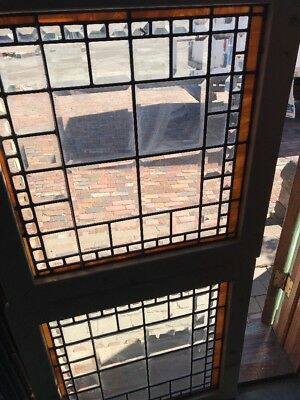 Sg 2021 Match Pair Antique All Beveled Glass Windows 26.25 x 27.25