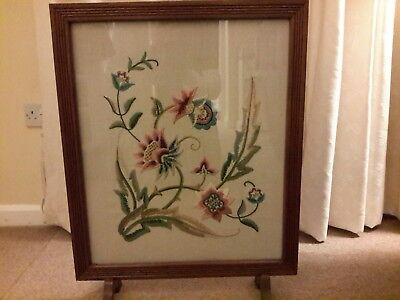 Antique Victorian Wood Fire Screen with Floral Embroidered Panel
