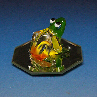 Collectible Frog Glass Miniature Figurine Big Bug Eyes Orange Red Green Colored
