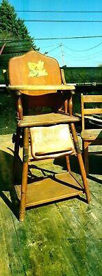 Vintage, Wooden, Antique Convertible Folding Child's High Chair- 1950's